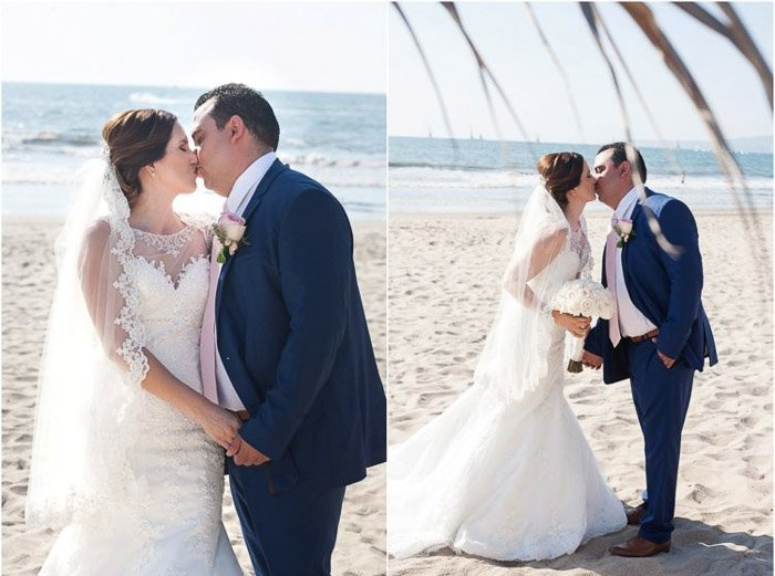 Diptych photo collage of a newlywed couple kissing on the beach at sunset. Amateur wedding photography.