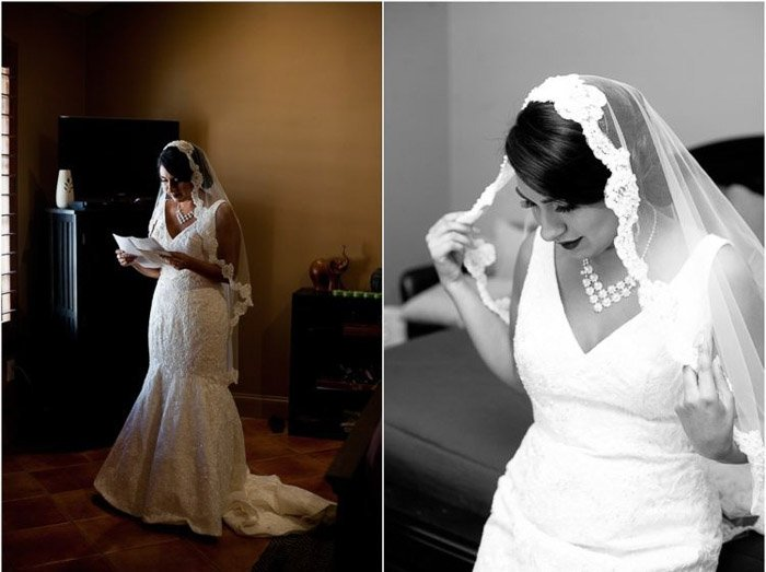 Diptych of bride preparing for the wedding, 1 colour and 1 black and white photography. Amateur wedding photography.
