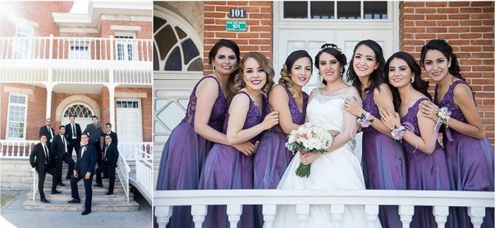 Diptych photo of the groom and groomsmen on the left, bride and bridesmaids on the right. Amateur wedding photography