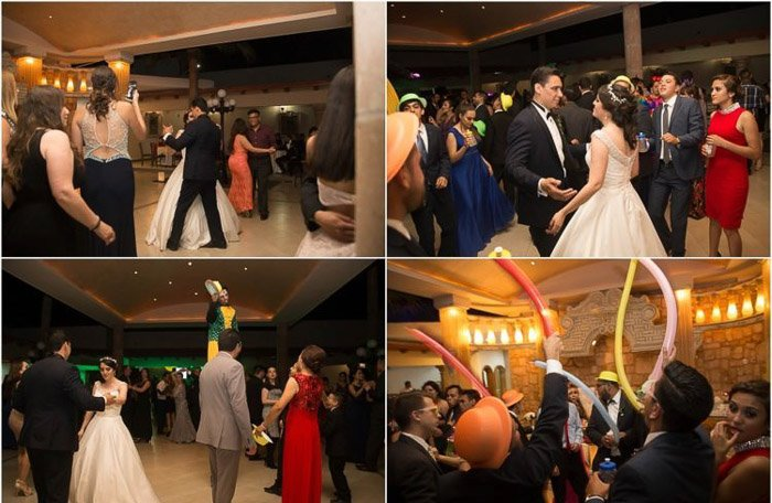 Four photo collage of a newlywed couple dancing among the guests at the wedding party. Amateur wedding photographer