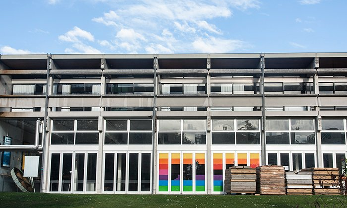 Front view of the multilayered, multi windowed Student Union Building, University of Canterbury, New Zealand.