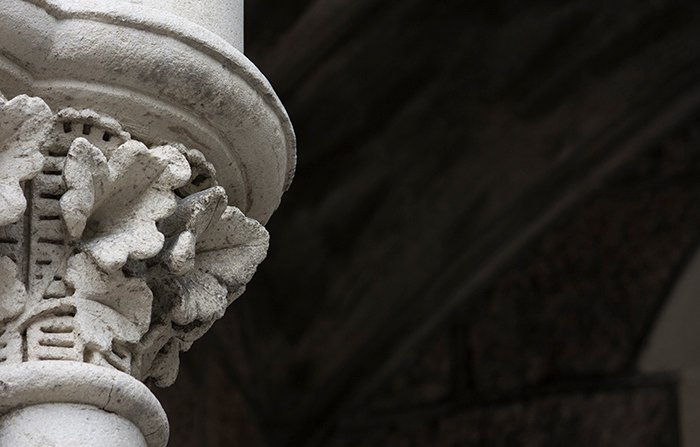 Stone column detail from the newly restored Arts Centre, Christchurch, New Zealand. Architecture photography