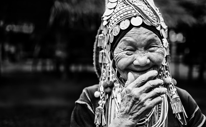 Black and white travel portrait