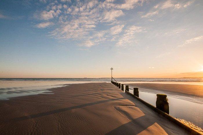 A calm evening beach scene