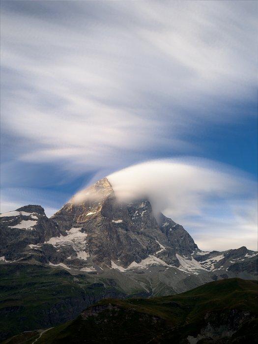 The Matterhorn mountain on a cloudy day