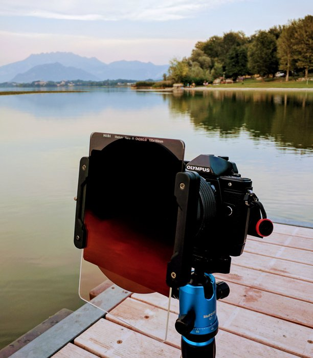 Long-exposure photography setup with CPL, a 3 stop Medium GND filter and a 6 stop ND filter.
