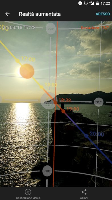 The sun path as seen in the Augmented Reality section of the mobile app PhotoPills.