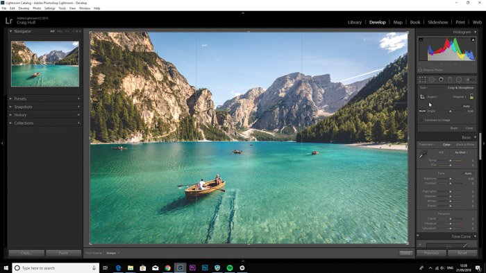 A screenshot showing how to use Lightroom to crop your images better