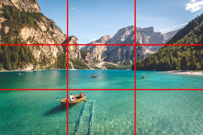 An image of a beautiful tropical coastal scene with the rule of thirds composition grid overlayed