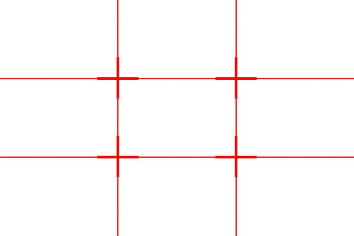 A red grid showing the rule of thirds grid (two horizontal lines and two vertical lines)