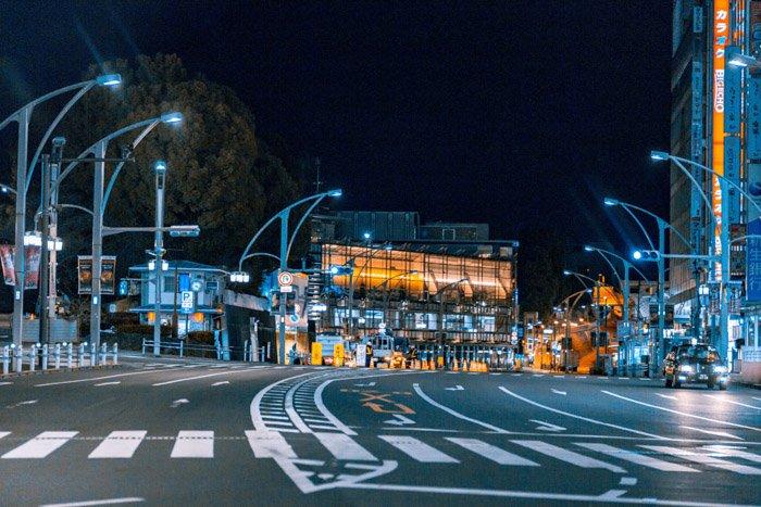 An urban street scene at night. Low light photography.