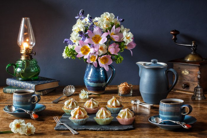 Still life photography of an afternoon tea display by Marcus Rodriguez.