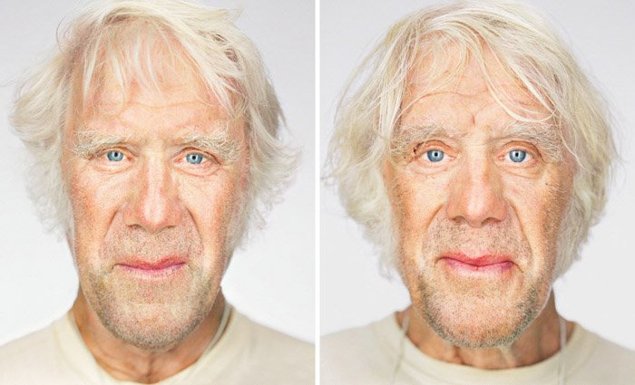 Diptych portrait photography of male twins by Martin Schoeller.