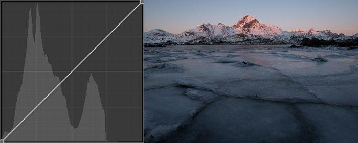 Post-processing a fine art landscape photography shot of a rocky mountain landscape.