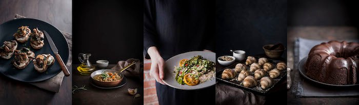 Food photography 5 photo collage showing different plates of food against a dark background.