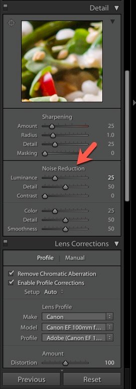 Screenshot of using noise reduction in Lightroom