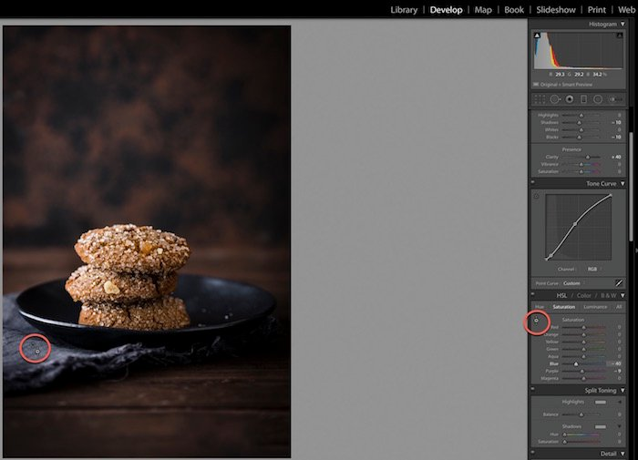 Shot of Adobe Lightroom interface, editing a photo of ginger cookies.