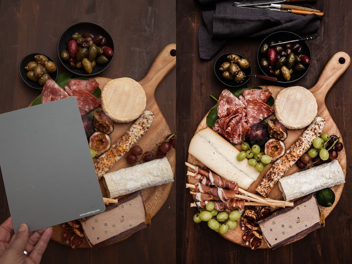 Diptych of a food board on a wooden table, demonstrating shooting with a grey card.