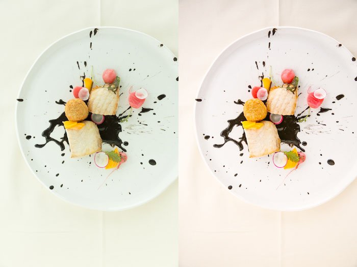 Diptych food photography of a white plate with a creative dessert, the same subject with different lighting.