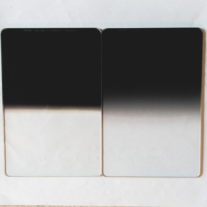 Close up image of 2 NiSi ND filters for long exposure photography