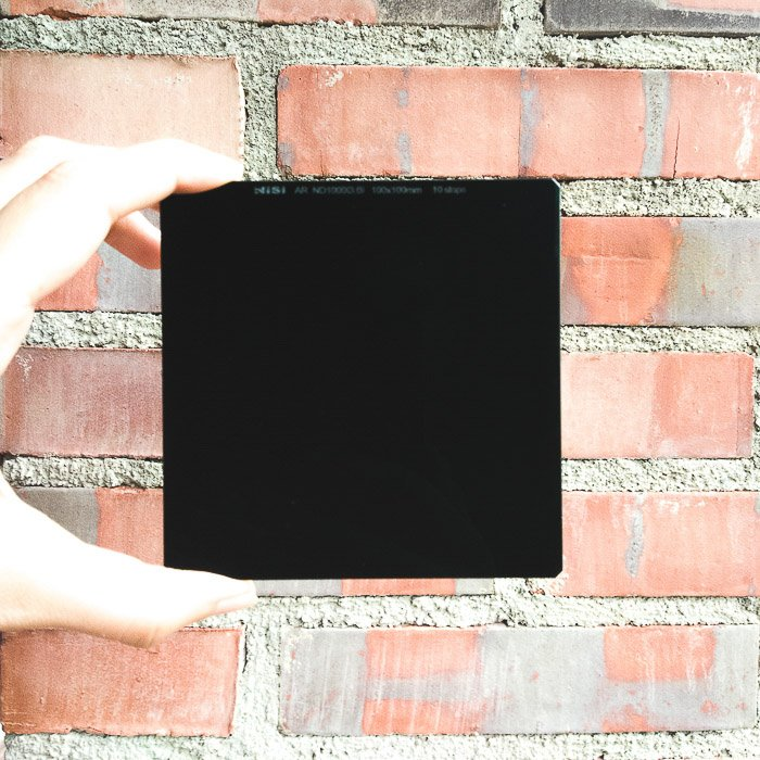 Close up image of a Nisi 10 stop ND filter for long exposure photography