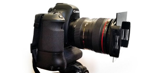 An image of a DSLR camera fitted with neutral density filter