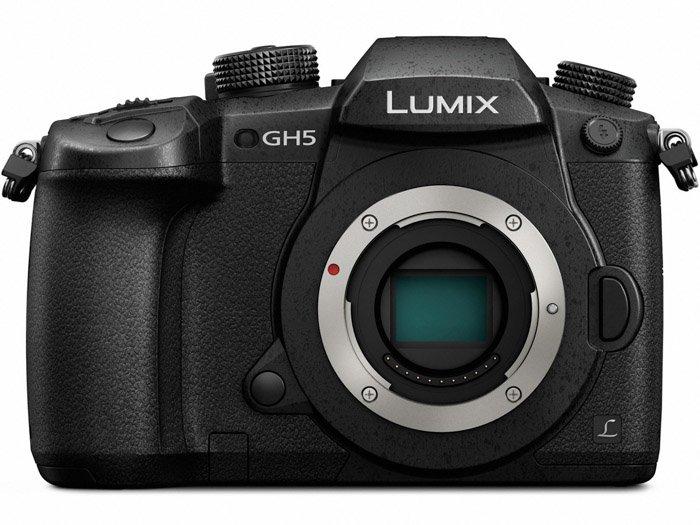 Image of a panasonic gh5 camera on white background
