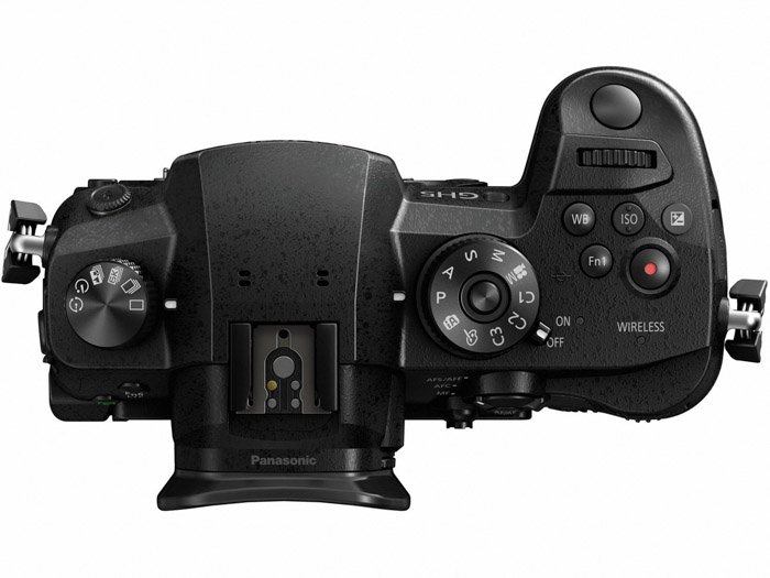 Overhead image of a panasonic gh5 on white background