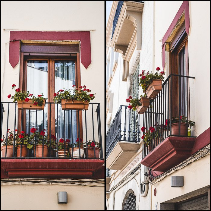 diptych photo collage showing two different angles of a window balcony with pots of redflowers - taken by two different people during the same photo walk.