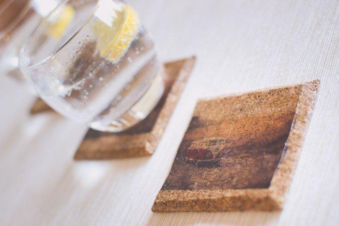 A photo of 3 handmade photo gift coasters. Creative photography ideas.