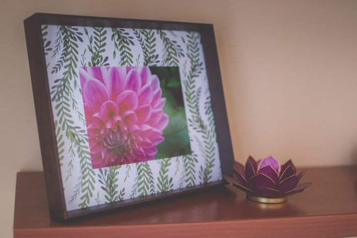 A photograph of a purple flower in a frame with creative border.