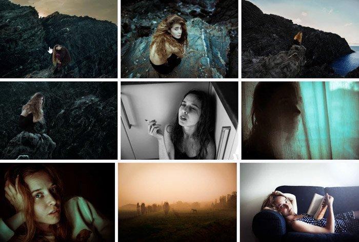 Miriana Pinna grid of 9 portrait photos. Famous Portrait Photographers