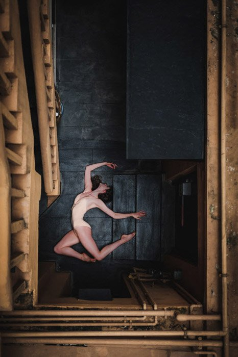 Omar Rubles overhead portrait of a dancer. Famous Portrait Photographers