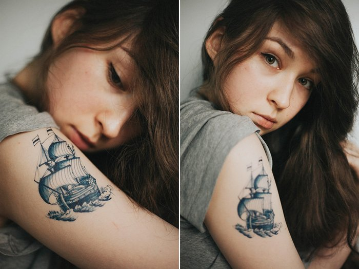 Diptych photography of a girl with ship tattoo on her arm. Self portrait photography tips.