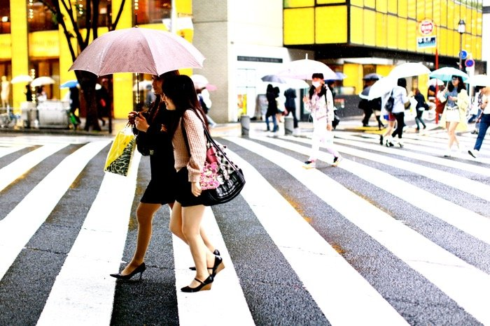 Travel photography of two women with umbrellas crossing the street, busy street scene background.
