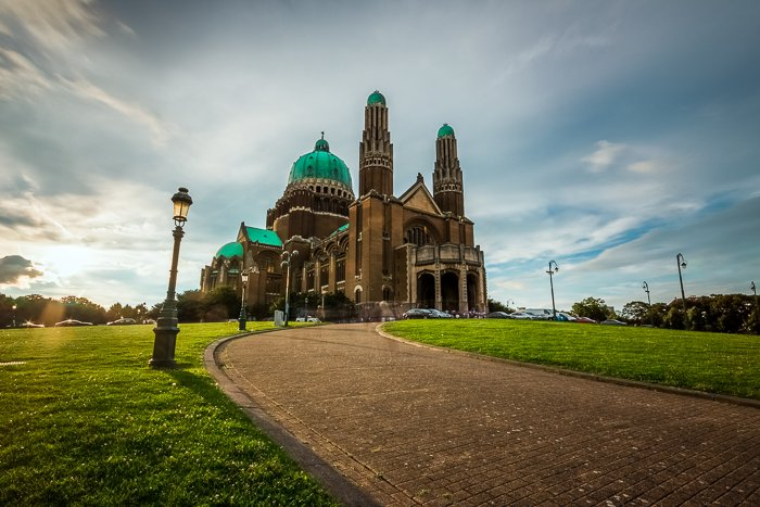 Photograph of Basilica of the Sacred Heart, Brussels taken with a wide angle lens . Architectural photography