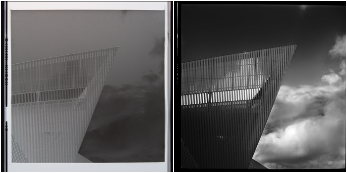 Two black and white 6x6 medium format photographs of an urban structure and sky taken with Yashica Mat TLR camera