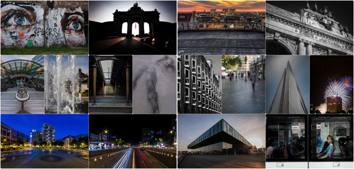 grid view photo collage of 16 examples of different city photos