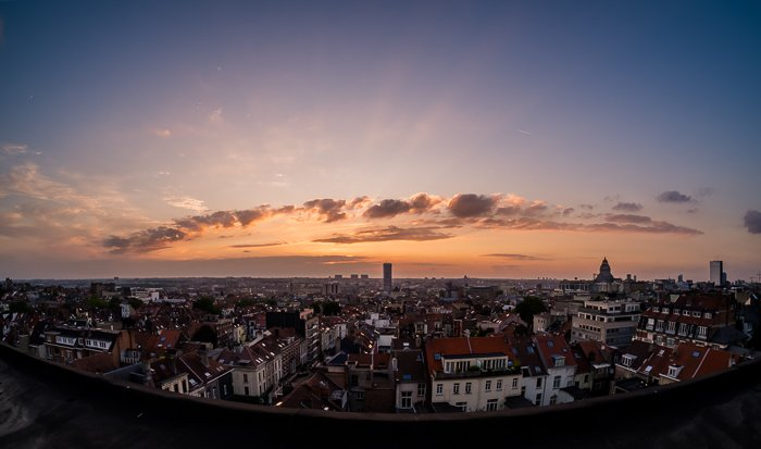 Brussels cityscape and skyline taken from the roof of a tall building at sunset. Urban photography