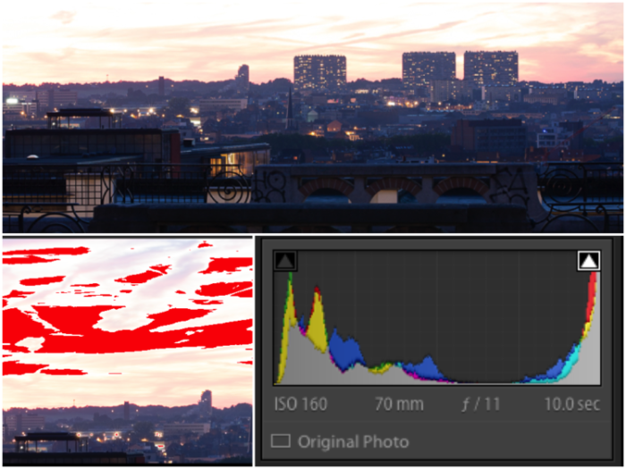 Triptych photo collage showing a cityscape and lightroom screens.