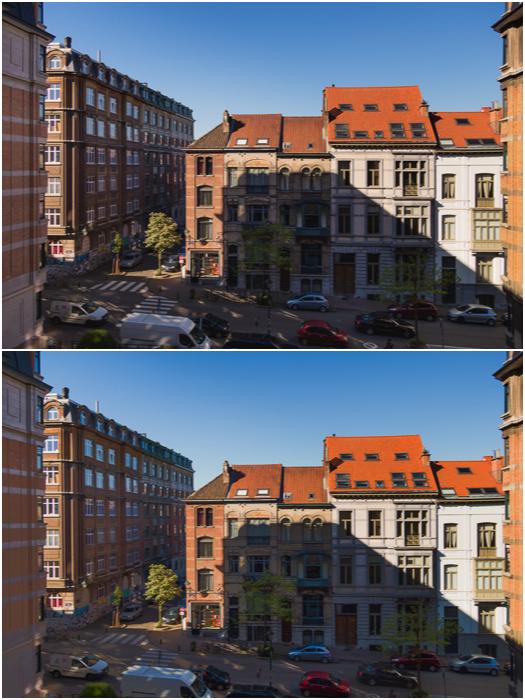 A diptych of the same street scene shot at a single exposure 0EV (top) vs -2EV, 0EV and +2EV exposures (bottom)