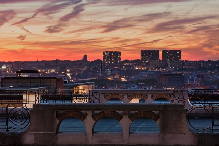 Natural looking HDR photos of an urban sunset.