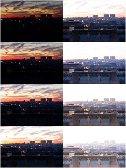 Multiple photographs of a cityscape with different exposures. All photos were taken 1EV apart.