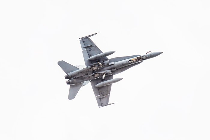 An airshow photography shot of a jet doing a 'dirty pass'