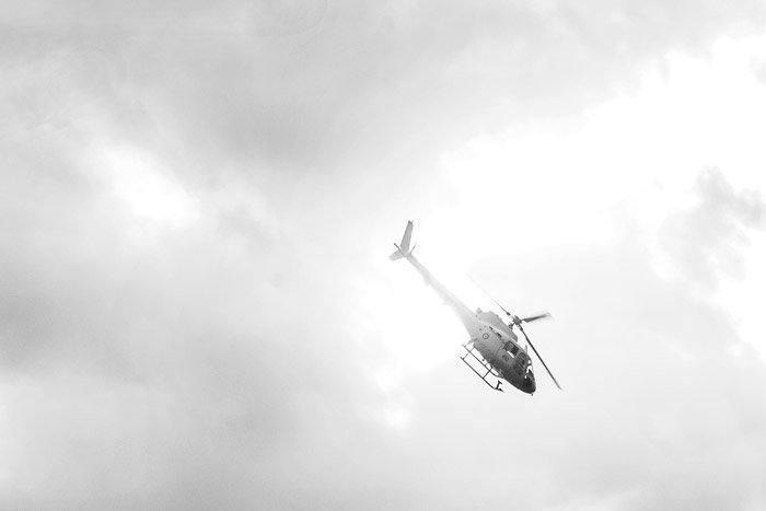Black and white aviation photography of a helicopter mid flight - airshow photography