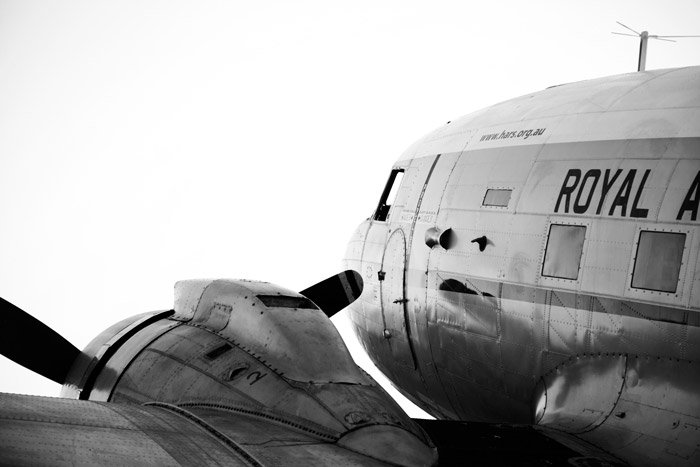 Black and white aviation photography close up of two airplanes - airshow photography.