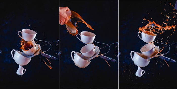A creative photography triptych of still life with falling coffee cups on dark background