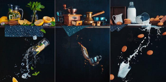 A creative photography triptych of still life with falling glasses of liquid on dark background