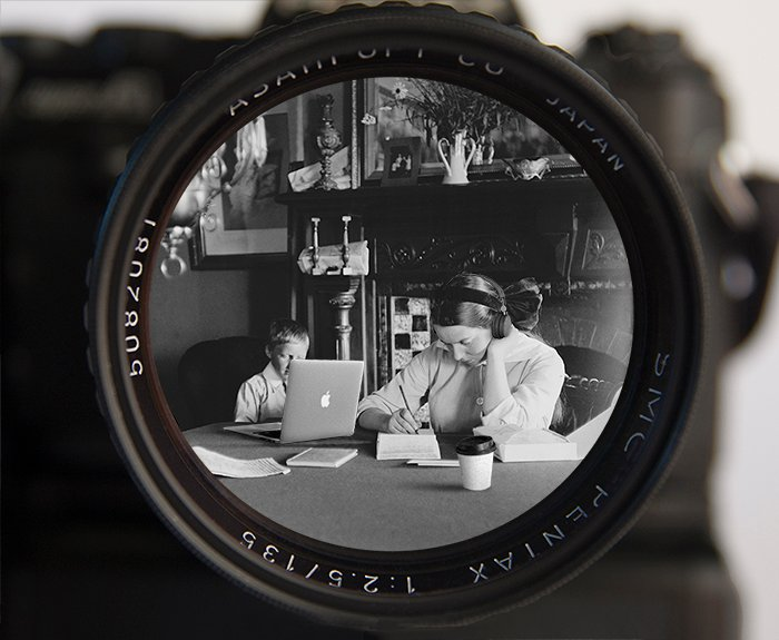 Composite photography of laptop, coffee, headphones, 1980s film camera, and 1910 photograph.
