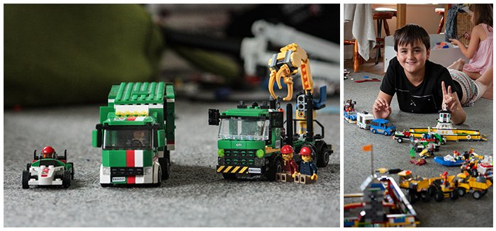 Diptych photo of lego cars and a small boy playing with lego on the floor